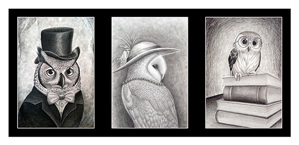 """Lorelei Shannon's Gold Key drawing """"The Owl Family"""""""
