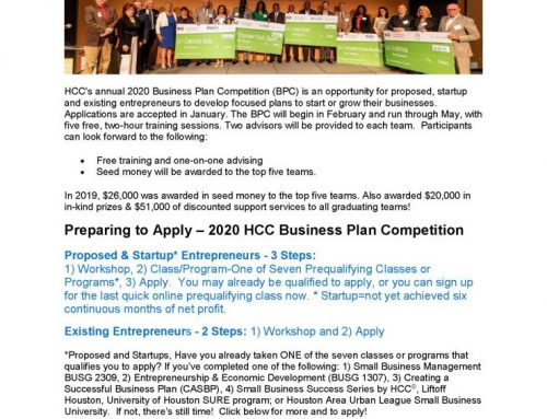 2020 HCC Business Plan Competition – Prepare Now!