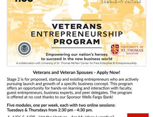 Veterans Entrepreneurship Program–Stage 2–Small Business Success Series by HCC© – For Veterans & Veteran Spouses Only