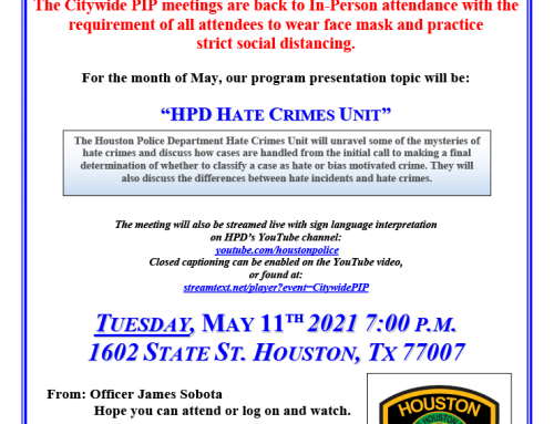 HPD Citywide PIP Meetings are back to In-Person attendance with Face Mask Requirements and also Livestreamed, May 11