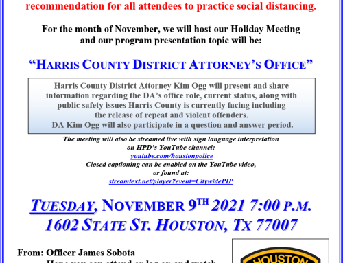 HPD Chief's Citywide PIP Holiday Meeting Invitation, Nov. 9
